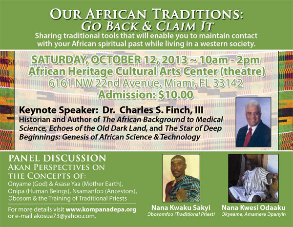 """""""Our African Traditions: Go Back and Claim It"""" Conference flyer"""