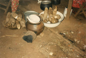fresh fire wood, yam, and water at Yam Festival 1994