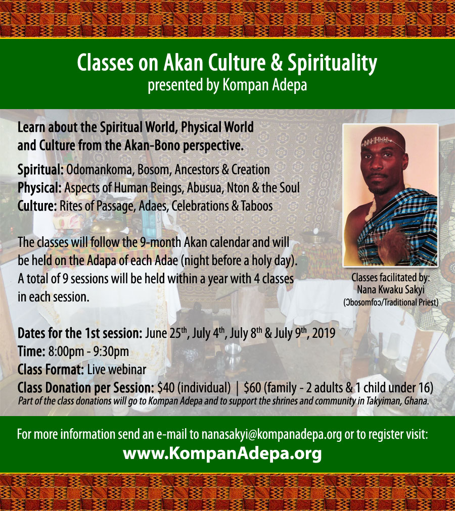 Classes on Akan-Bono Culture and Spirituality flyer